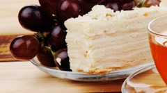 Tea and cream cake Stock Footage