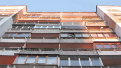 Establishing Shot Exterior Soviet Era Apartment Building In Russia Stock Footage