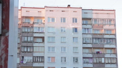 Establishing Shot Exterior Soviet Era Apartment Building Architecture Stock Footage