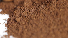 Ground coffee grains - stock footage