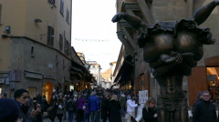 4K Tuscany Toscana Florence historic old town Ponte Vecchio bridge and crowded - stock footage