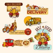 Delivery Emblems Set Stock Illustration
