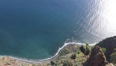 4k Aerial tilt up Madeira cliffs to open sea Cabo Girao Stock Footage