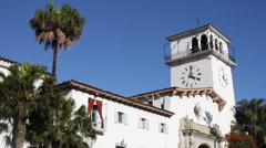 Santa Barbara California – City Courthouse and Clock Tower 1 Stock Footage