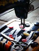 The sewing machine and tools. Stock Photos