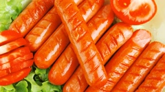 Sausages served with tomato and salad Stock Footage