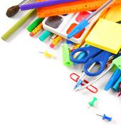 School tools and accessories on a white background. - stock photo