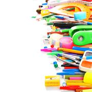 School tools and accessories on white background. - stock photo