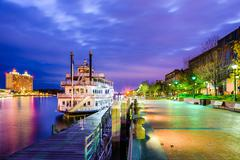 Savannah, Geogia Riverfront Promenade Stock Photos