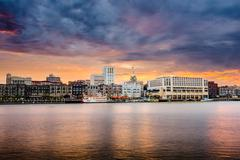Savannah Georgia Riverfront Skyline Stock Photos