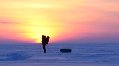 4K Stock Footage Polar Explorer Goes to Sunset Stock Footage