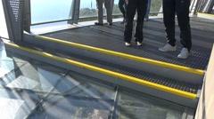 4k Glass bottom aerial panning Madeira Cabo Girao Stock Footage