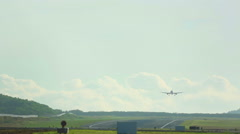 Jet airplane touch down Stock Footage
