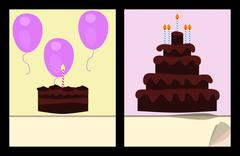 Vector - Workbook cover template with birthday cakes and air balloons Stock Illustration