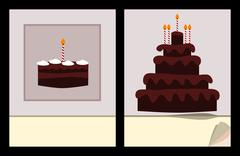Workbook cover template with small and big birthday cake (jpg) - stock illustration
