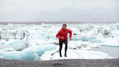 Running man trail runner training running uphill - Fit male athlete training Stock Footage