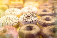 many different donuts found in a bakery - stock photo