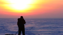 4K Stock Footage Polar Explorer Starts To Go to Sunset - stock footage