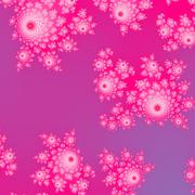 Stock Illustration of Pink fractal decorative pattern with cute rosebud shapes