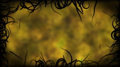 Black Vines Border Background Animation - Loop Yellow Stock Footage