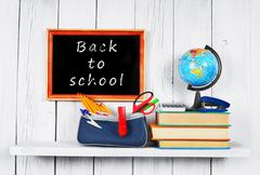 Back to school. Frame. Books and school tools. - stock photo