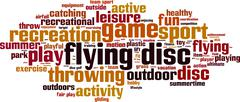 Flying disc word cloud Stock Illustration
