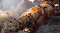 Lamb on the spit Stock Footage