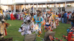Pow wow grand entry with bells on Stock Footage