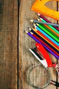 Back to school. School tools around. Stock Photos