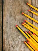 Back to school. Pencils. Wooden background. Stock Photos