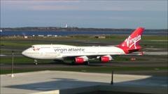 Boeing 747 jumbo jet airplane taxies Stock Footage