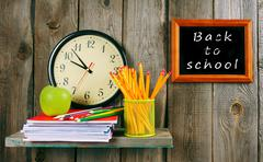 Back to school. Watches and school tools . Kuvituskuvat