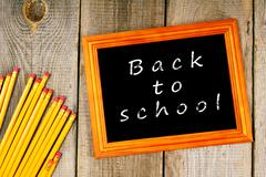 Back to school. Frame and pencils. - stock photo