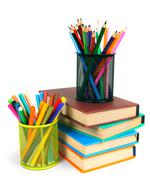 Books and pencils. On white background. - stock photo