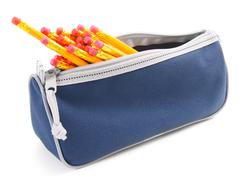 Bag with school tools on a white background. - stock photo