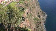4k Cliffs tilt up Madeira island panorama Cabo Girao Stock Footage