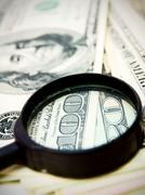 Money (dollars) and magnifier - stock photo