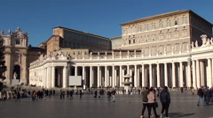 St. Peter's Square colonnades & Apostolic Palace. Vatican City. Stock Footage
