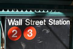 New York, USA - Subway entrance in Lower Manhattan at Broadway Kuvituskuvat