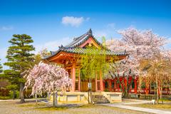 Buddhist Temple Bellhouse in Spring - stock photo