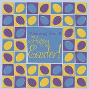 Mosaic funky Easter card in vector format. - stock illustration