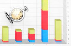 Watch and financial graphs Stock Photos