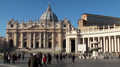 St. Peter's Square and Basilica. Vatican City. Stock Footage