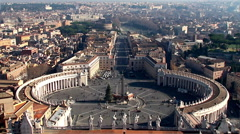 St. Peter's Square and Borgo from the Dome of St. Peter's Basilica. Timelapse. Stock Footage