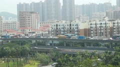 Shenzhen's 107 State Road and Xixiang Avenue Interchange traffic landscape Stock Footage