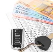 Keys from the car, euro of a banknote and documents Stock Photos