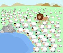 vector illustrator animal lion herd sheep lamb pond concept - stock illustration