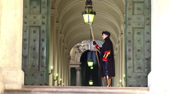 Pontifical Swiss Guard in uniform with halberd. Vatican City. Stock Footage