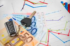 Keys from the car, banknote euro on graphs. Stock Photos