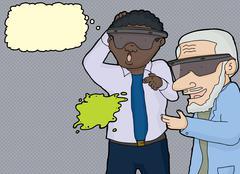 Stock Illustration of Men Reaching For 3D Blob